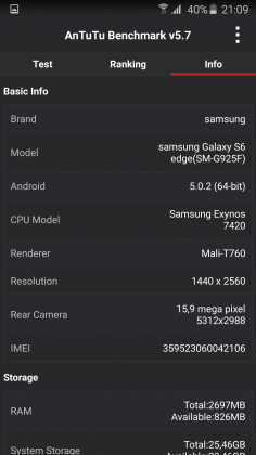 Benchmark Samsung Galaxy S6 Edge