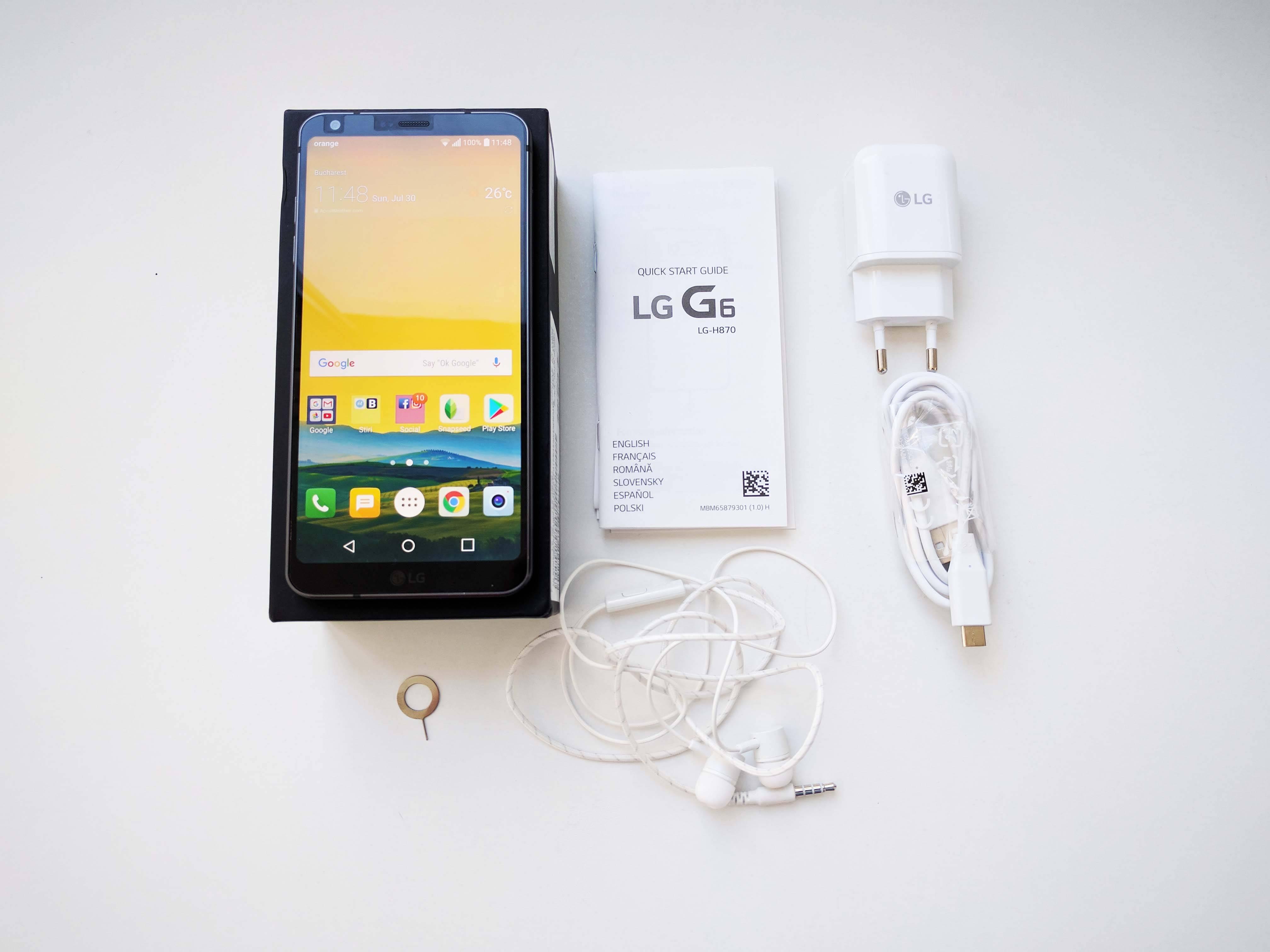 LG G6 ambalaj, accesorii, unboxing