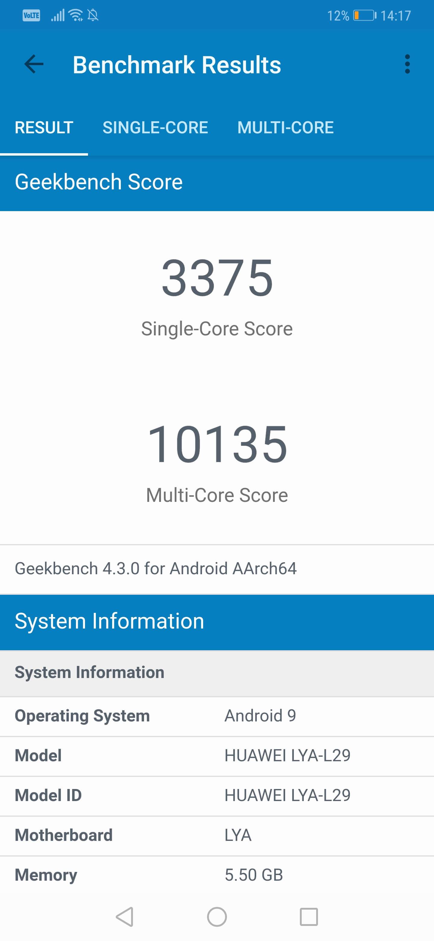 Huawei Mate 20 Pro Bechmark Geekbench 4