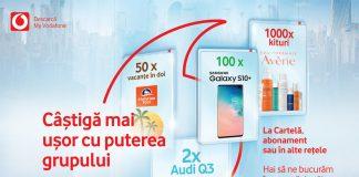 Cum pot utilizatorii cartelei Vodafone sa castige doua Audi Q3, 50 de excursii pentru doua persoane, 100 de Samsung Galaxy S10 Plus si 1000 de kit-uri de vara Eau Thermale Avène