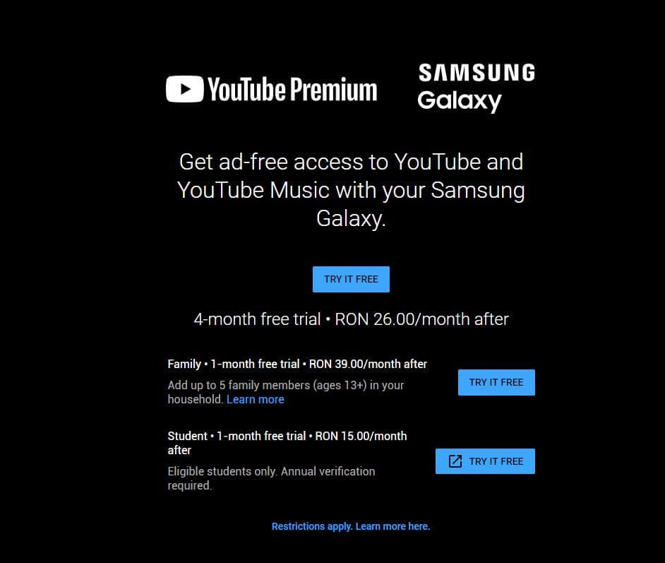 youtube premium abonament family si student