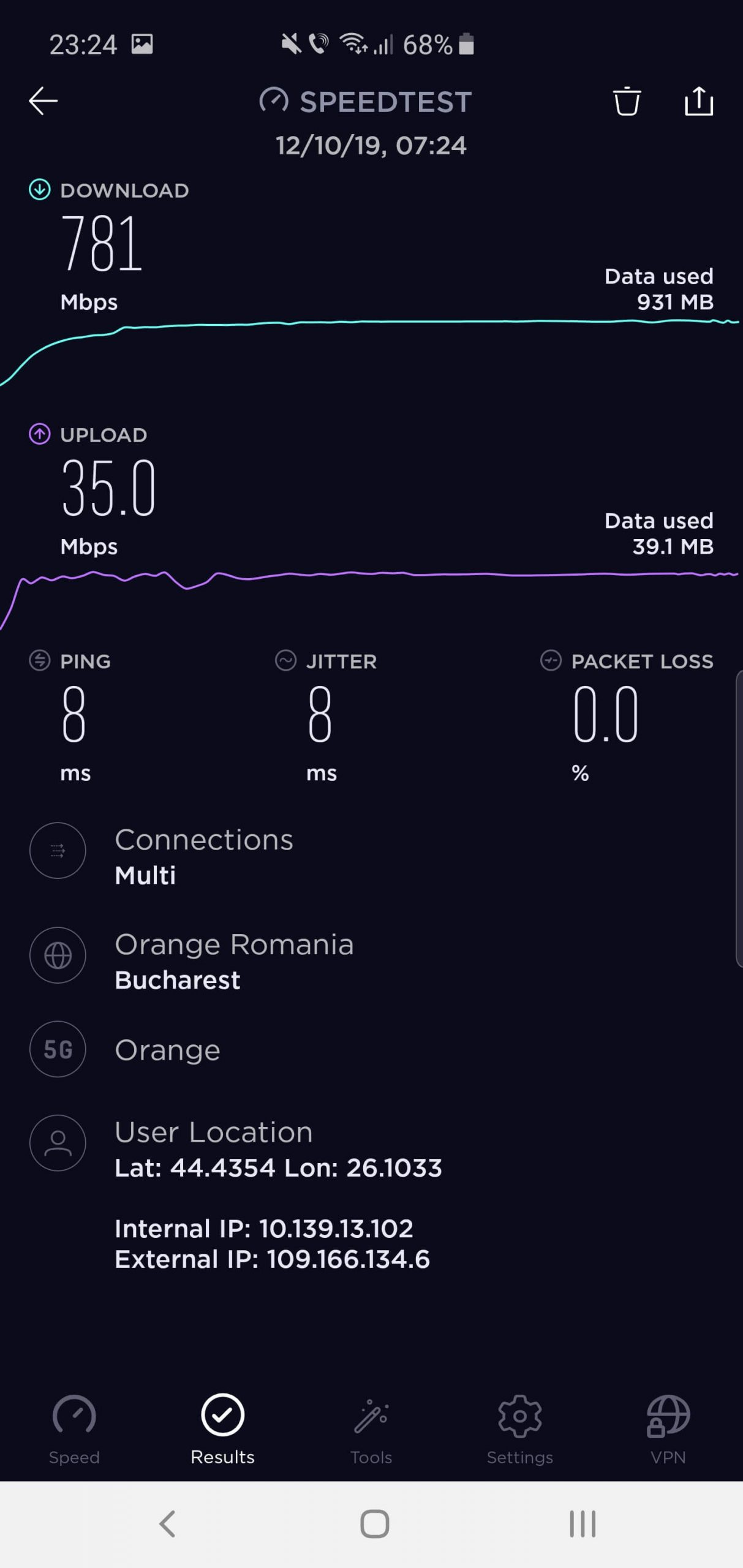 Orange Romania viteza 5G